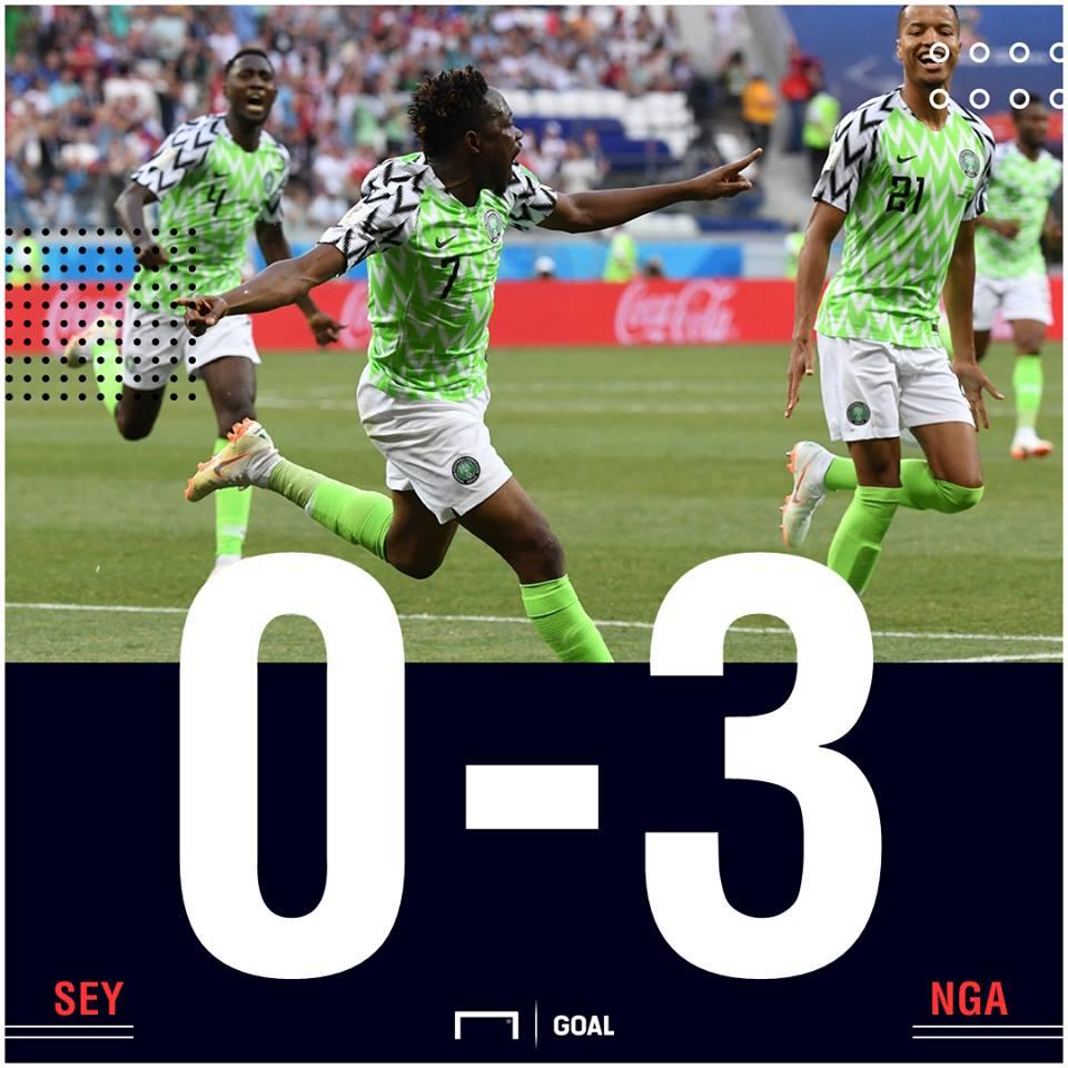 Seychelles Nigeria scoreline PS