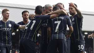 Man City celebrate at Fulham 2019