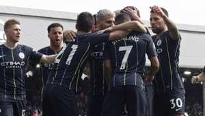 Man City celebrate at Fulham 2019