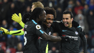 Willian, Pedro, Moses Chelsea vs Huddersfield