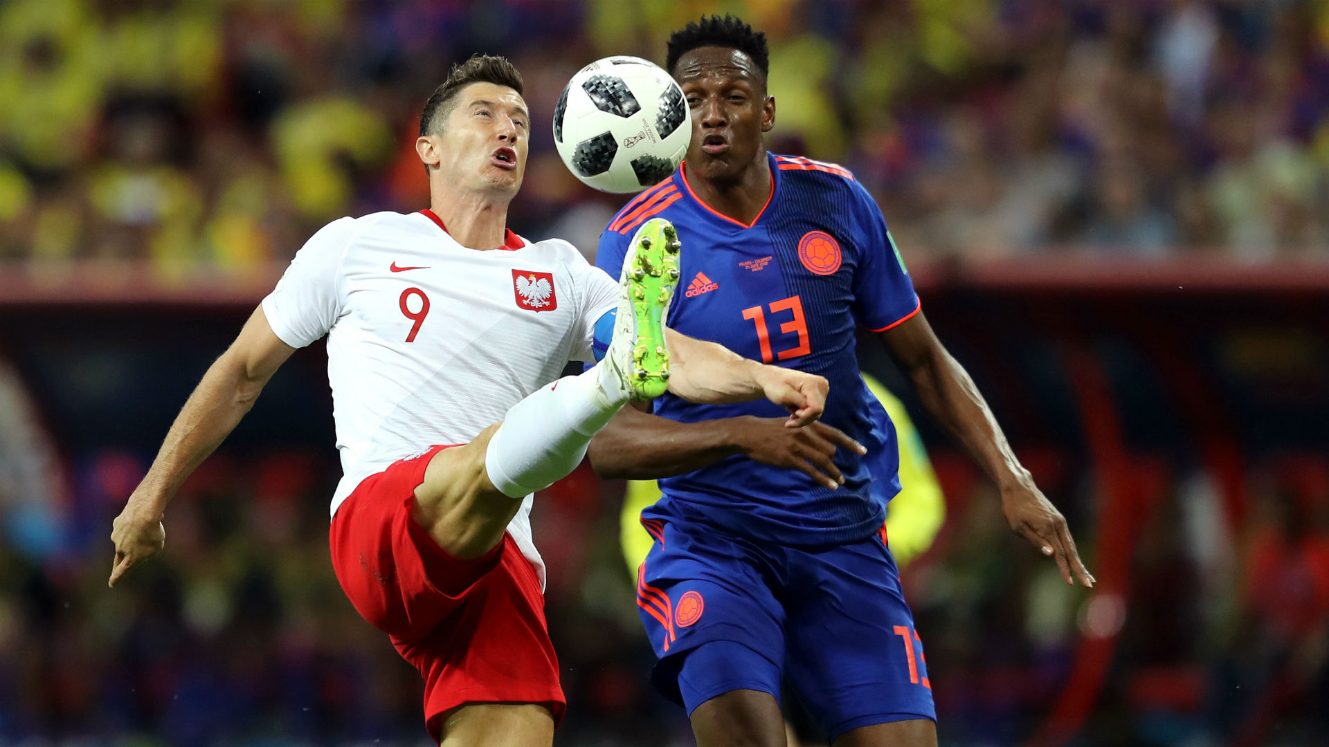 Robert Lewandowski Yerry Mina Poland Colombia World Cup 2018