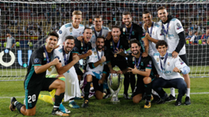 Real Madrid spanish players celebrating the UEFA Supercup