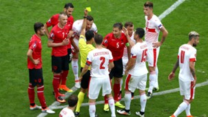 Cana second yellow Albania Switzerland Euro 2016