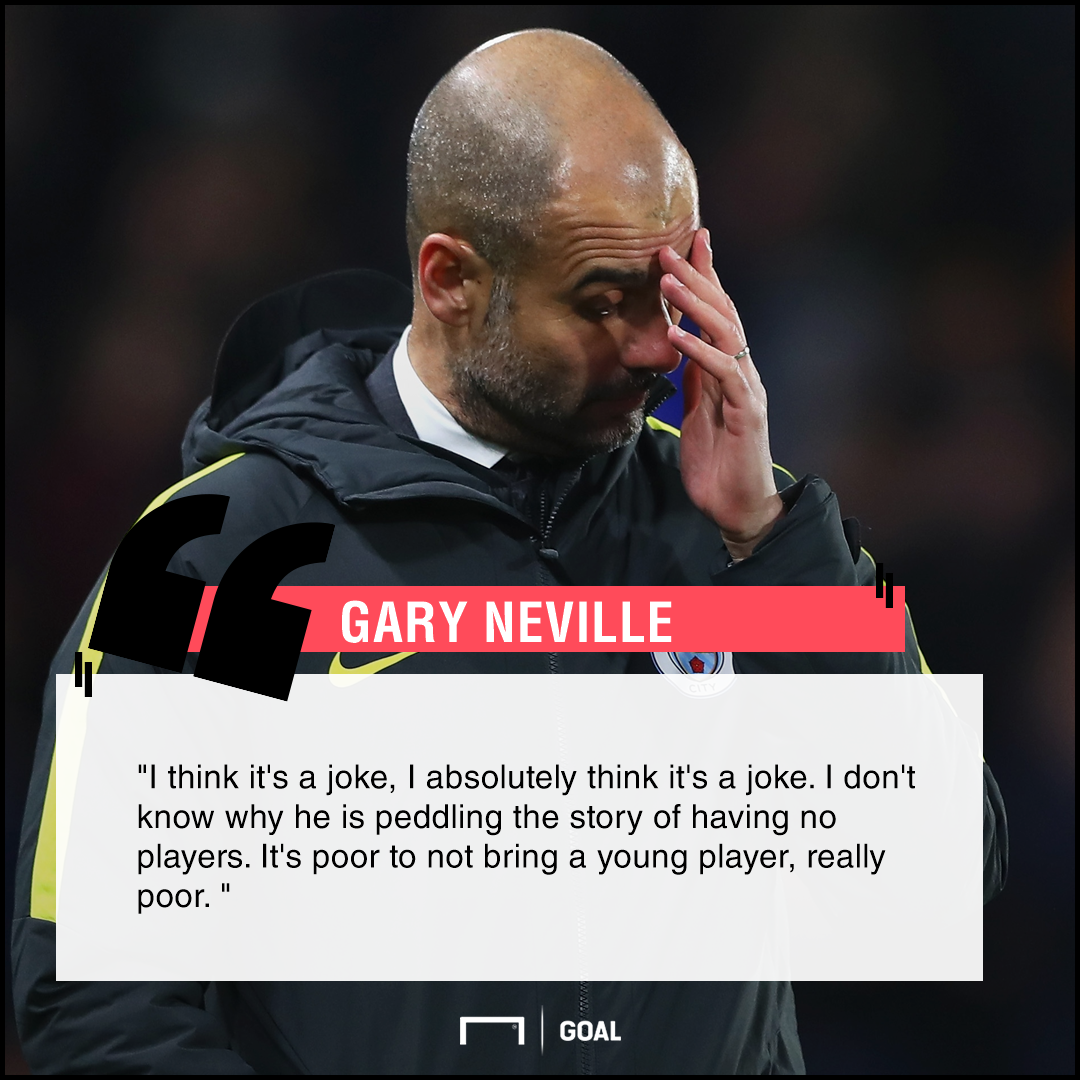 Pep Guardiola six subs joke Gary Neville