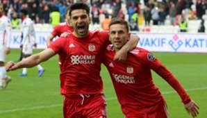 Muhammet Demir Sergiy Rybalka Sivasspor Goztepe Goal Celebration Turkish Super League 12/08/18