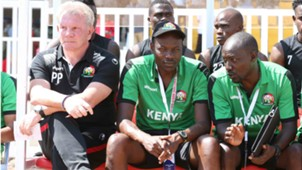 Harambee Stars technical bench Paul Put and Stanley Okumbi.