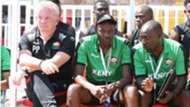 Harambee Stars technical bench Paul Put and Stanley Okumbi.