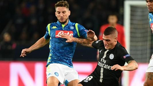 Marco Verratti Dries Mertens PSG Napoli UEFA Champions League 24102018