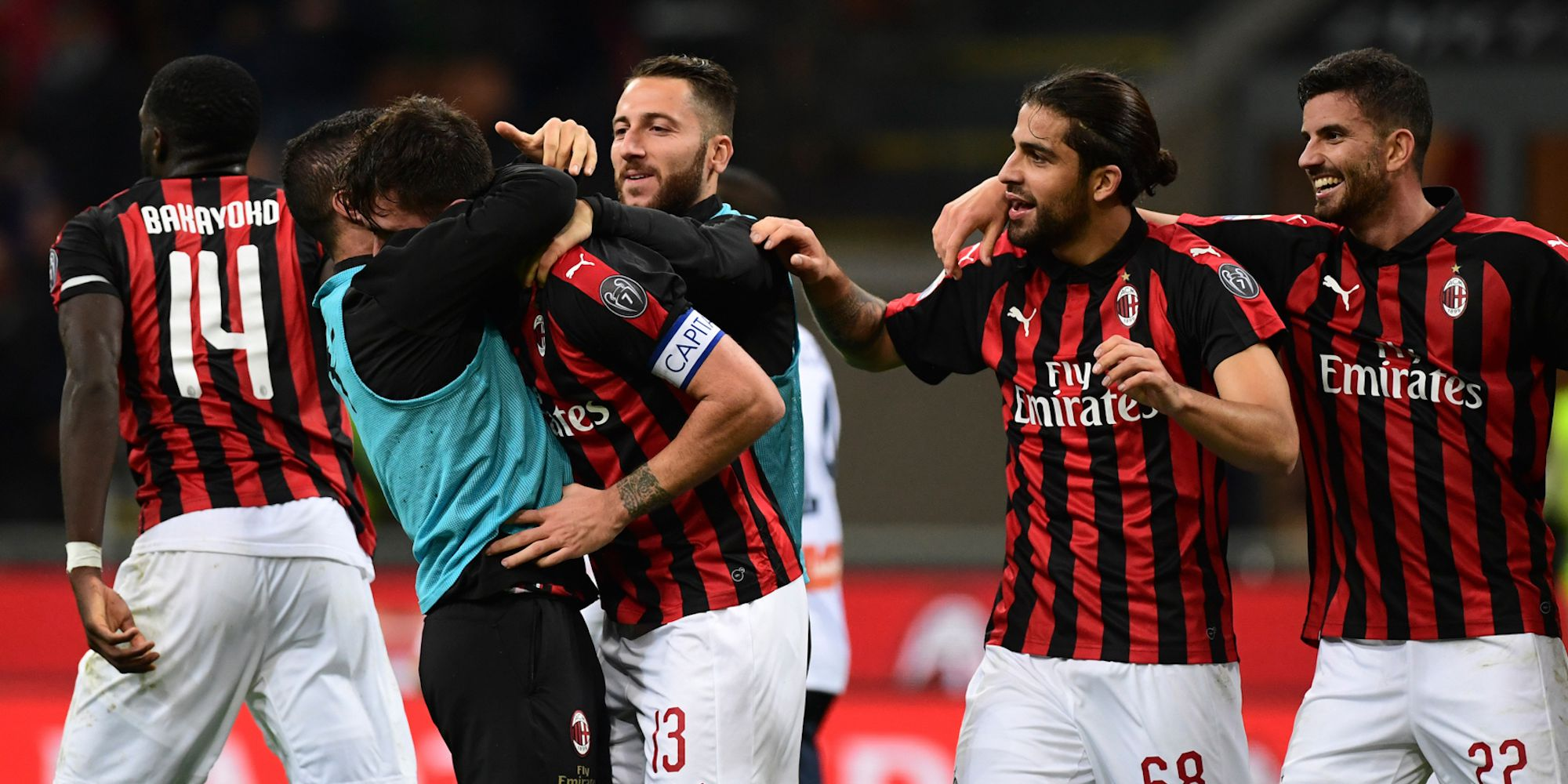 Milan players celebrating Milan Genoa Serie A