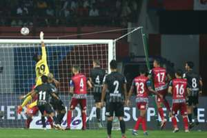 Jamshedpur Goalkeeper Subhasish Roy in action during a match against ATK in Hero ISL