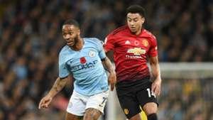 Raheem Sterling Jesse Lingard Manchester City vs Manchester United Premier League 2018-19