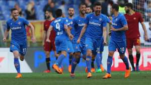 Fiorentina celebrates against Roma