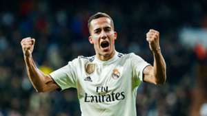 Lucas Vazquez of Real Madrid celebrates after scoring his team`s first goal during a La Liga match between Real Madrid v Valencia at the Santiago Bernabeu on December 1, 2018