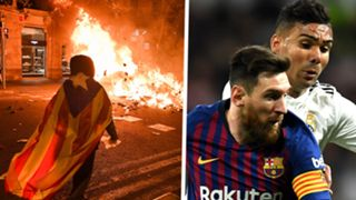 Clasico Catalan protests