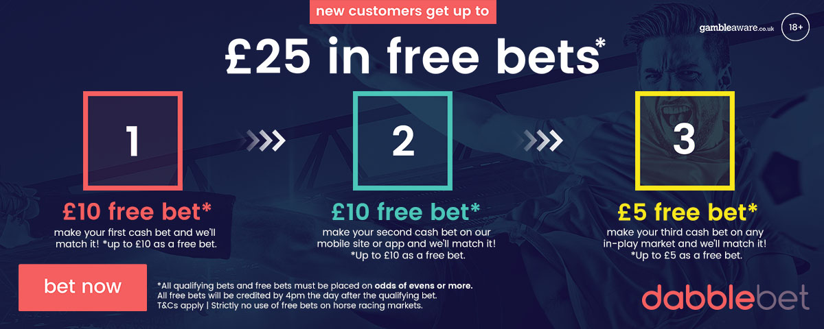 dabblebet new customer promo up to £25