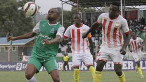Gor Mahia striker Jacques Tuyisenge takes on Chikati Moses of Homeboyz.