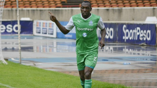 Meddie Kagere celebrates scoring for Gor Mahia