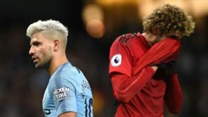 Sergio Aguero Marouane Fellaini Manchester City United 111118
