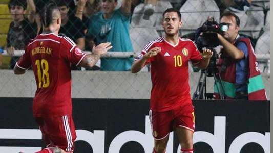 Hazard celebrates his goal with Belgium team mate Radja Nainggolan