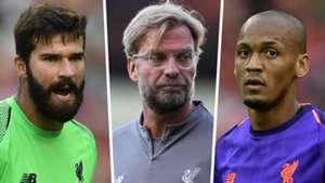Alisson Becker Jurgen Klopp Fabinho Liverpool 2018-19