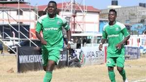 Gor Mahia captain Haroun Shakava celebrates with George Odhiambo v AFC Leopards.