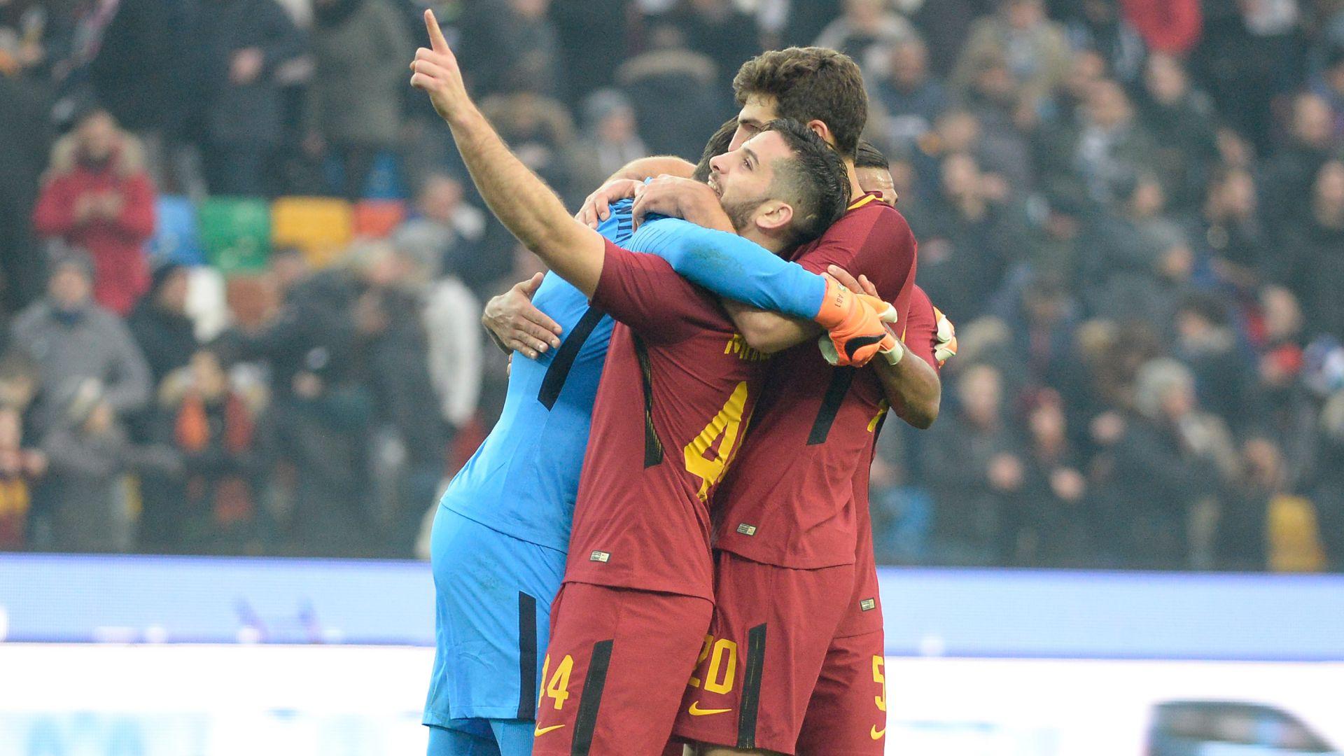 Roma celebrates victory vs. Udinese 17022018