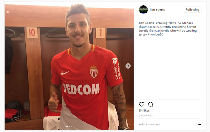 Jovetic deleted Instagram post