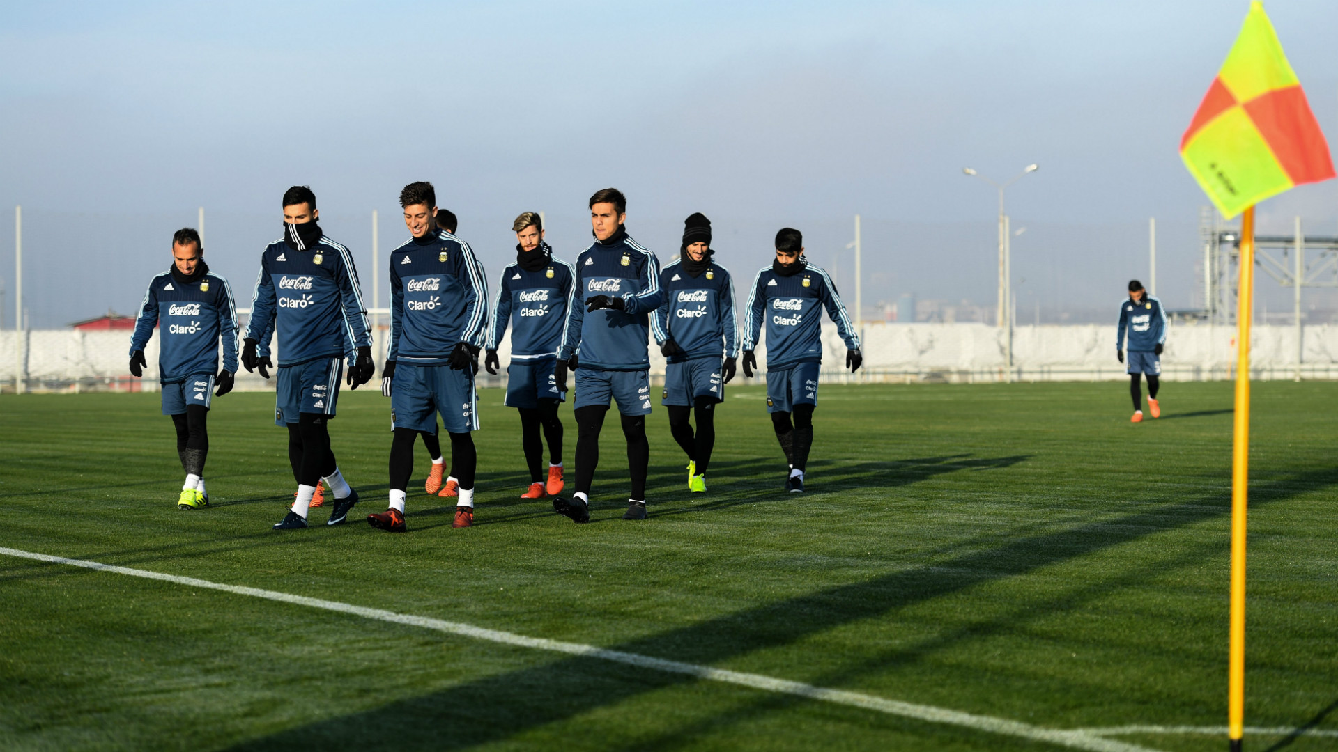 Argentina's players take part in a training session in Moscow, Russia