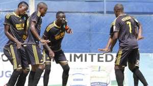Chemelil players celebrate Erastus Mwaniki goal.