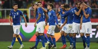 Italian players celebrating Poland Italy UEFA Nations League