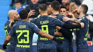 Inter celebrating SPAL Inter Serie A
