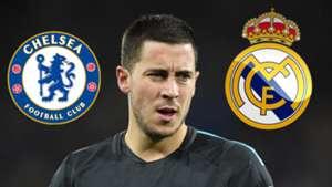 Eden Hazard Real Madrid Chelsea logos