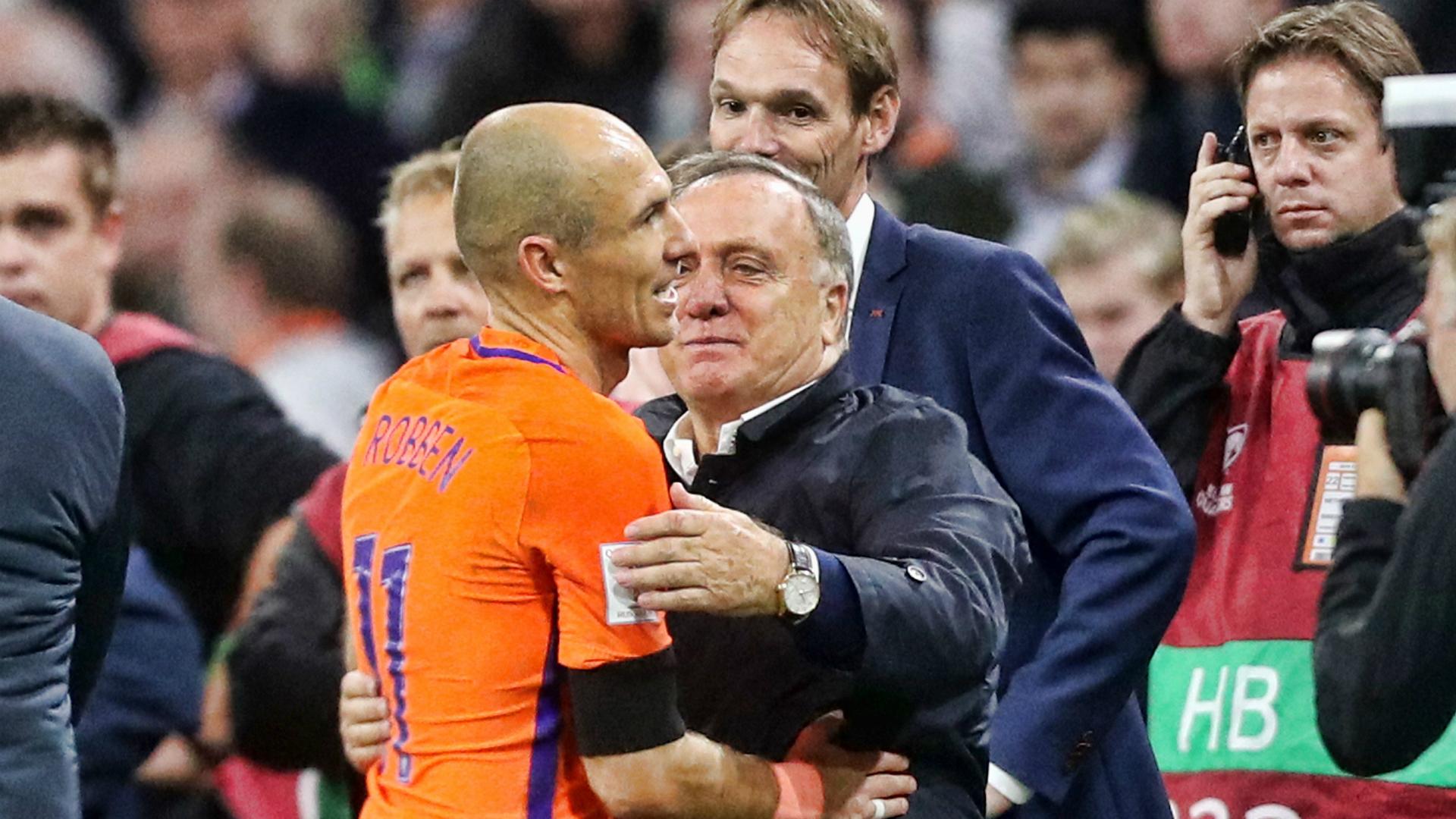 Dick Advocaat, Arjen Robben, Netherlands - Sweden, 10102017