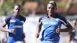 Eugine Ambulwa celebrates scoring for Nakumatt FC.