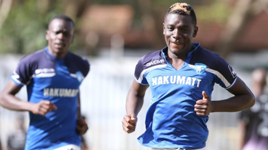 Eugine Ambulwa celebrates scoring for Nakumatt FC.