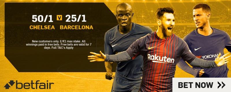 GFX Chelsea 50/1 v Barcelona 25/1 Enhanced UCL odds