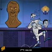 Cartoon Ronaldo's statue