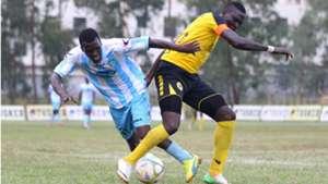 Hansel Ochieng of Thika United and Lawrence Kasadha of Tusker.