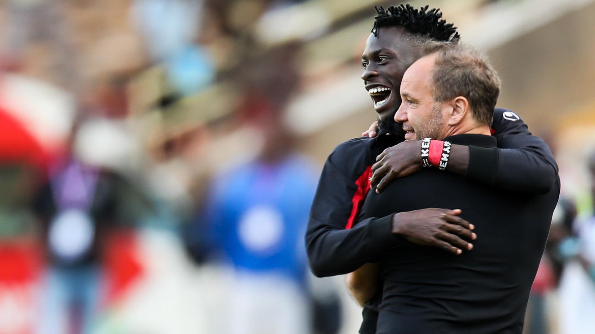 Kenya coach Sebastien Migne and Jesse Were.