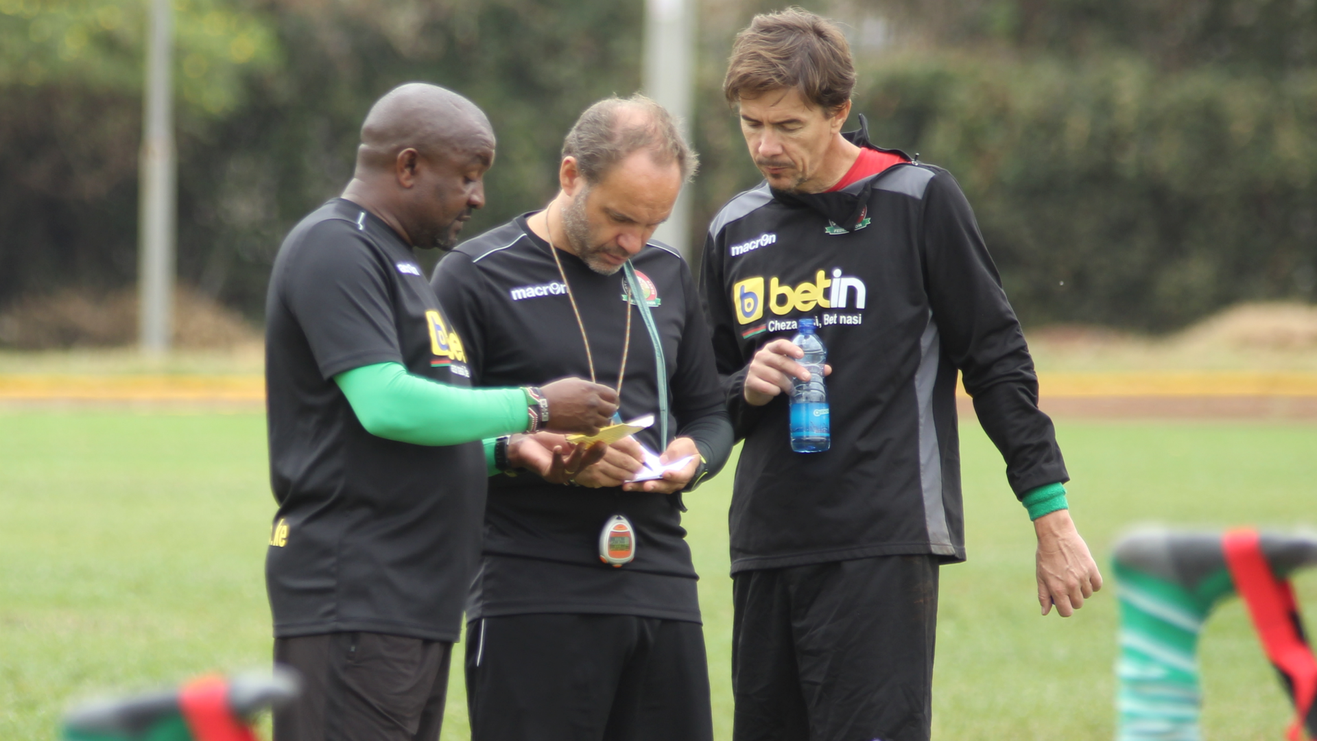 Francis Kimanzi and Sebastien Migne of Harambee Stars.
