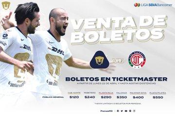 Boletos Pumas vs Toluca