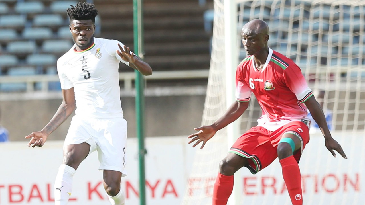 Dennis Odhiambo of Sofapaka and Kenya v Thomas Partey of Ghana.