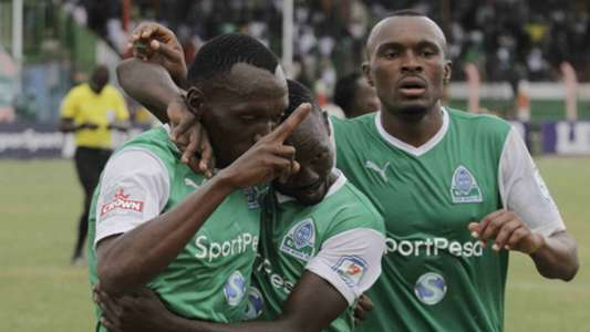 Meddie Kagere celebrates his winning goal against Kakamega Homeboyz