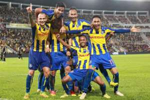 Pahang players celebrating their goal against T-Team 27/1/2017