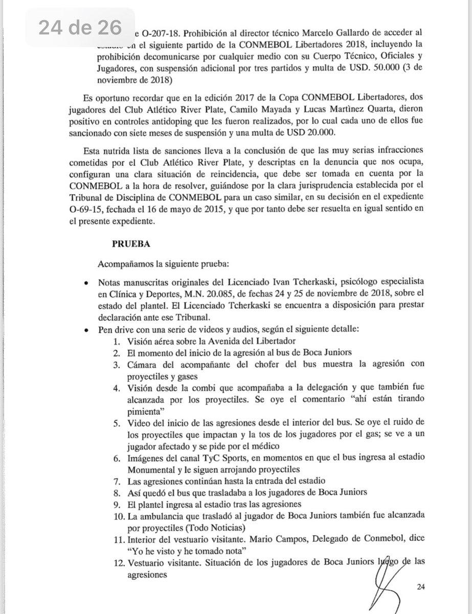 petitorio Boca Juniors CONMEBOL 27112018