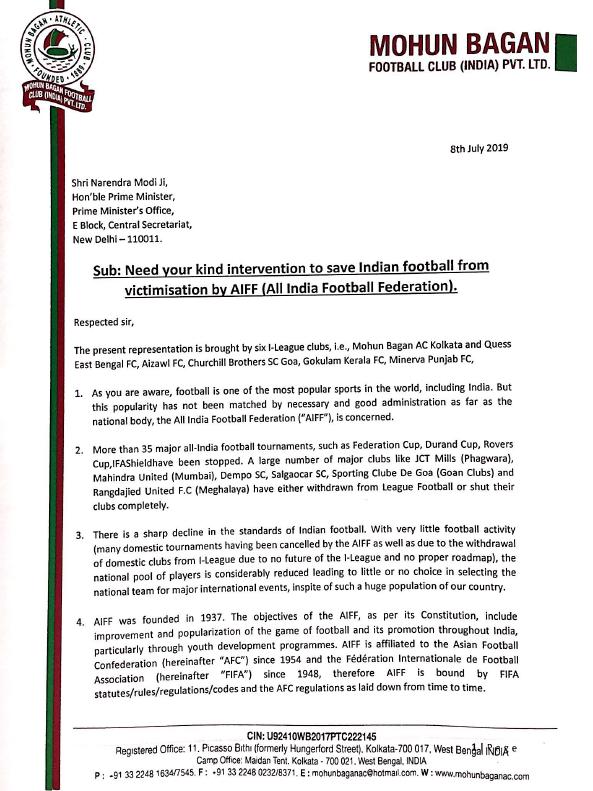 Page 1 - Mohun Bagan letter to PM Modi
