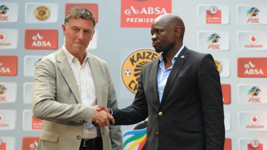 Kjell Jonevret and Steve Komphela - Orlando Pirates v Kaizer Chiefs
