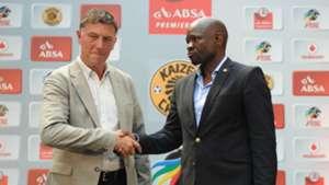 Kjell Jonevret and Steve Komphela - Orlando Pirates v Kaizer Chiefs