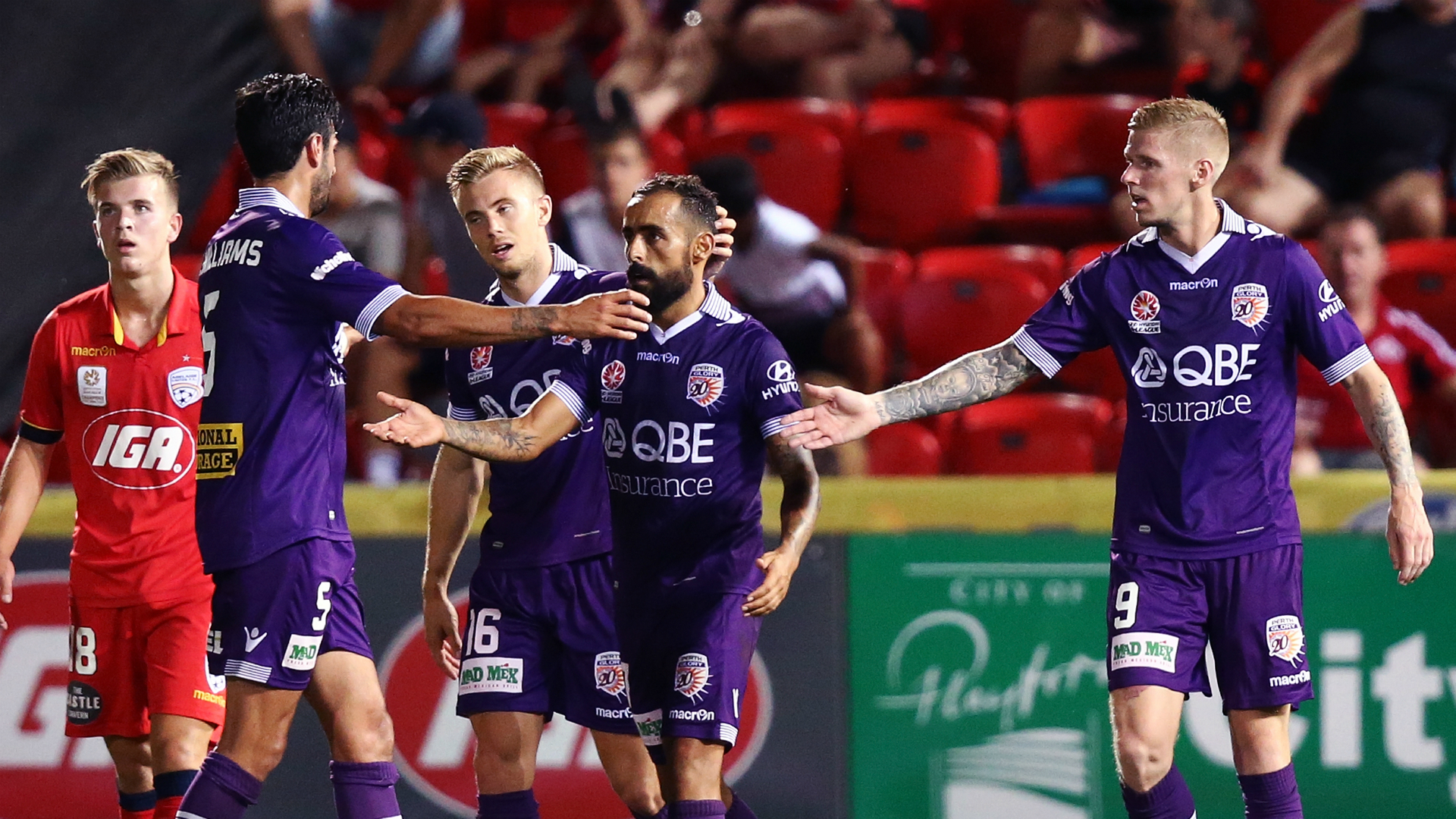 Diego Castro Adelaide United v Perth Glory A-League 10022017
