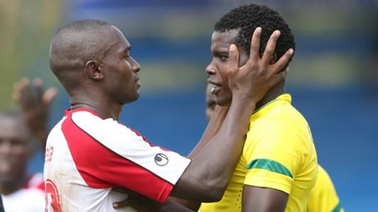 Francis Ocholla of Ulinzi Stars and Pascal Ogweno of Sharks.